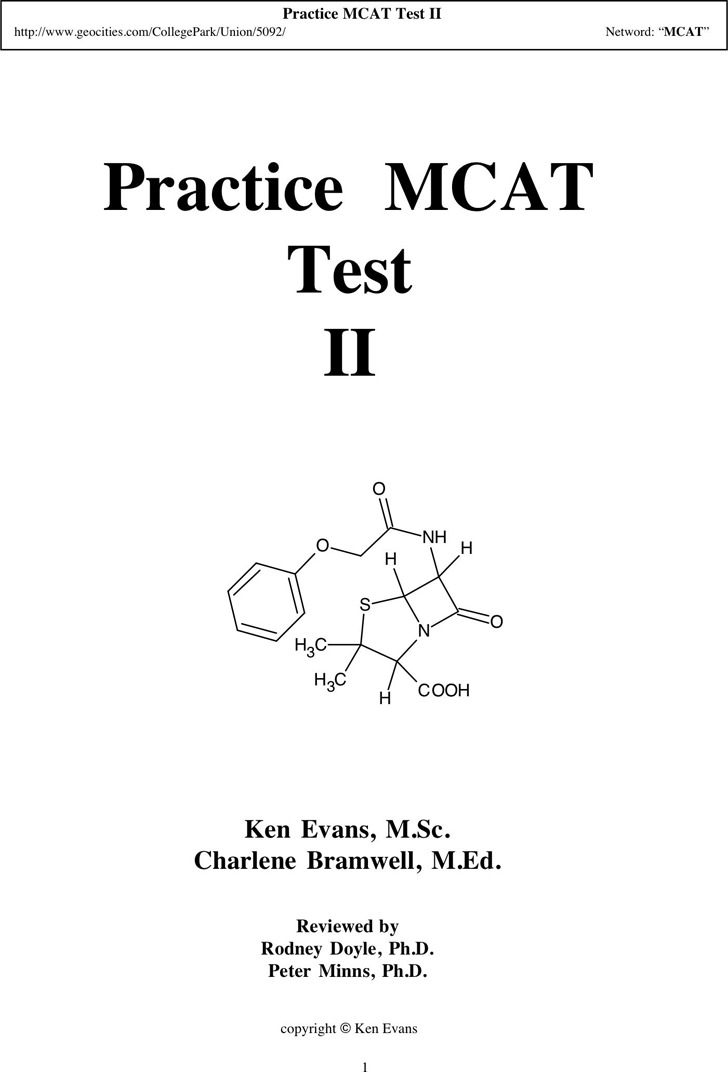 MCAT Sample Questions Template 2