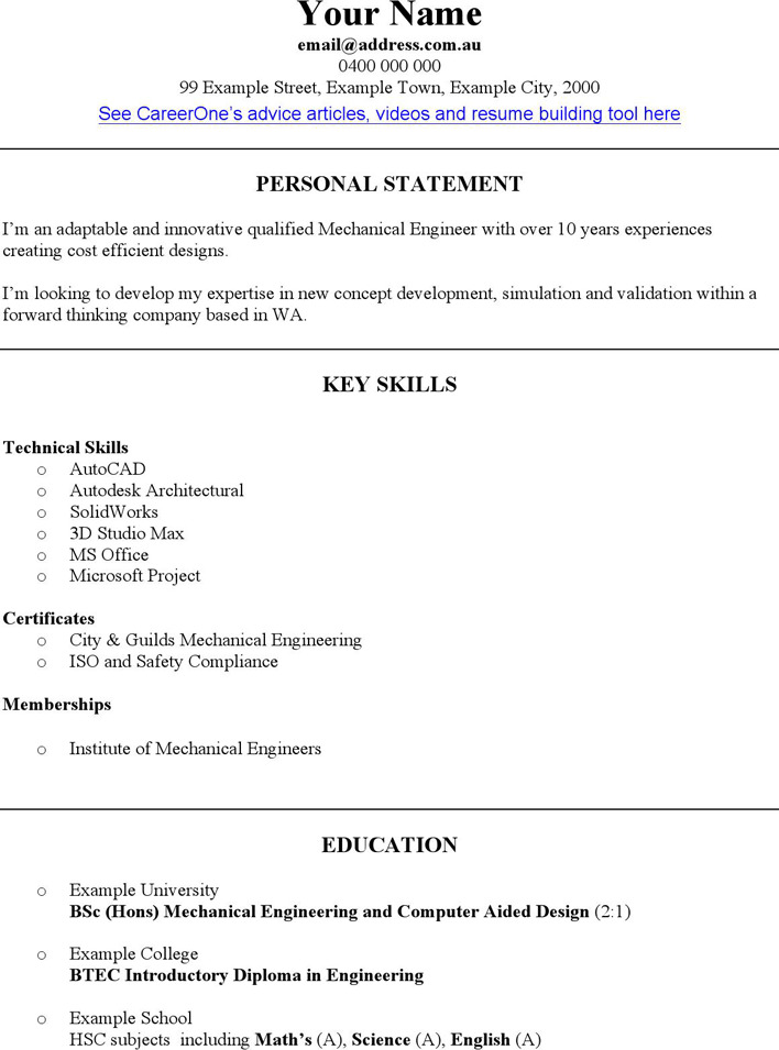 Mechanical Engineer CV Template