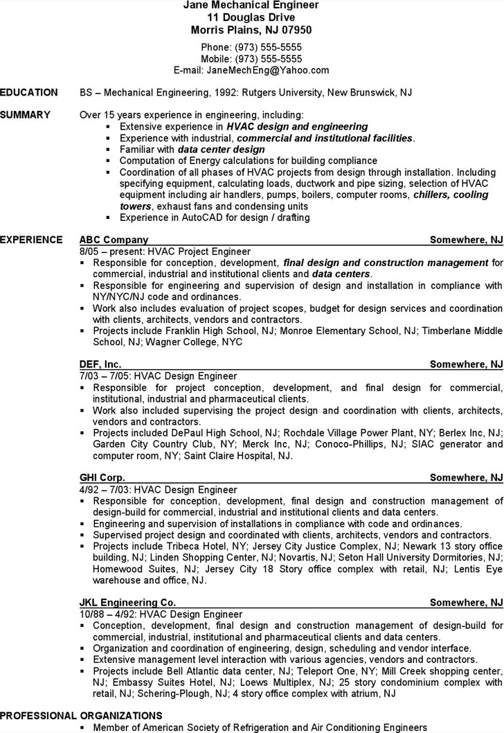 Mechanical Engineer Hvac Resume Free Pdf Download