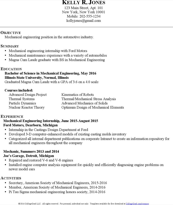 Mechanical Engineering Resume For Internship