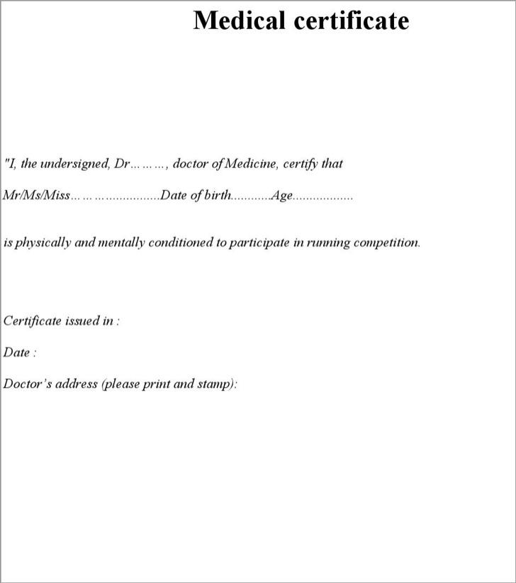 Medical Certificate For Running