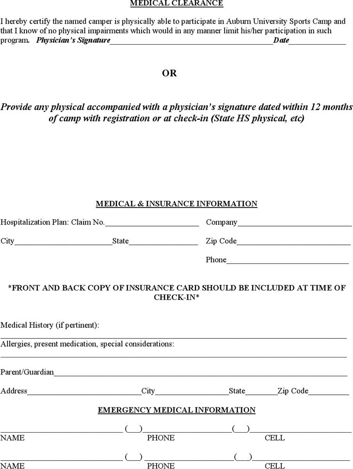 Medical Clearance Form 3