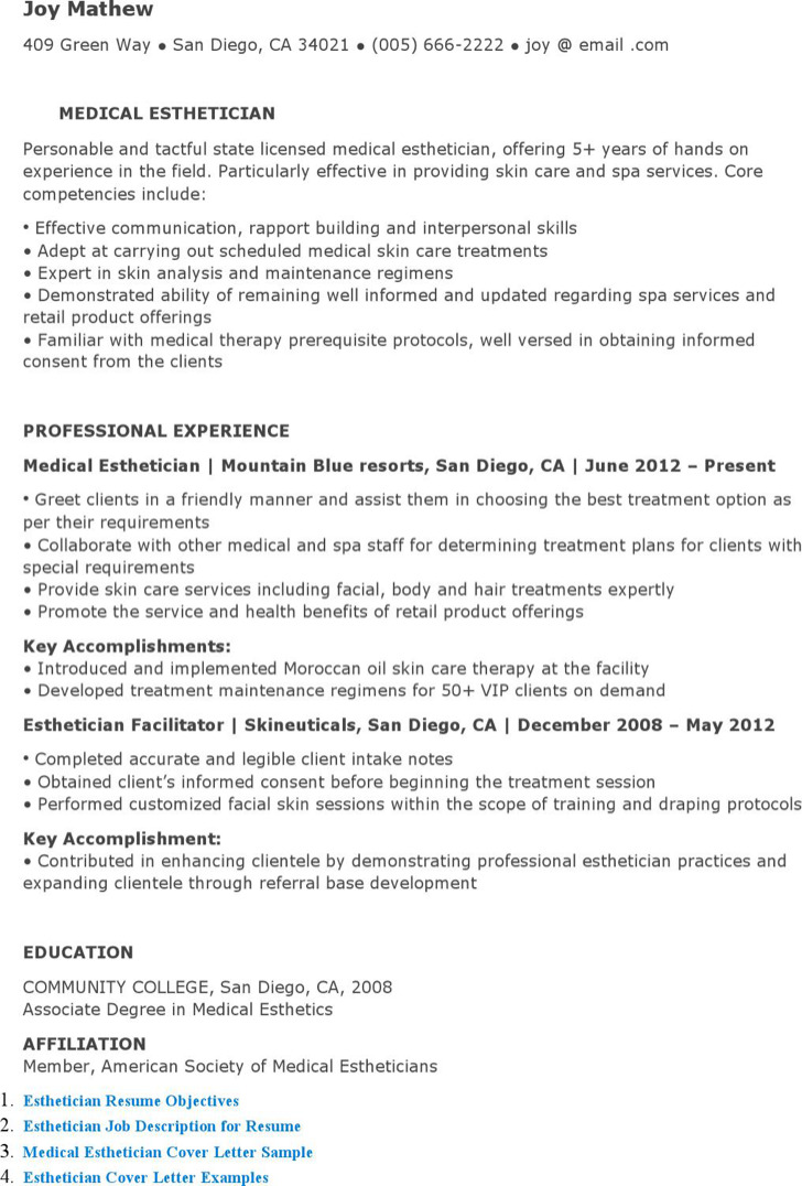 Medical Esthetician Resume