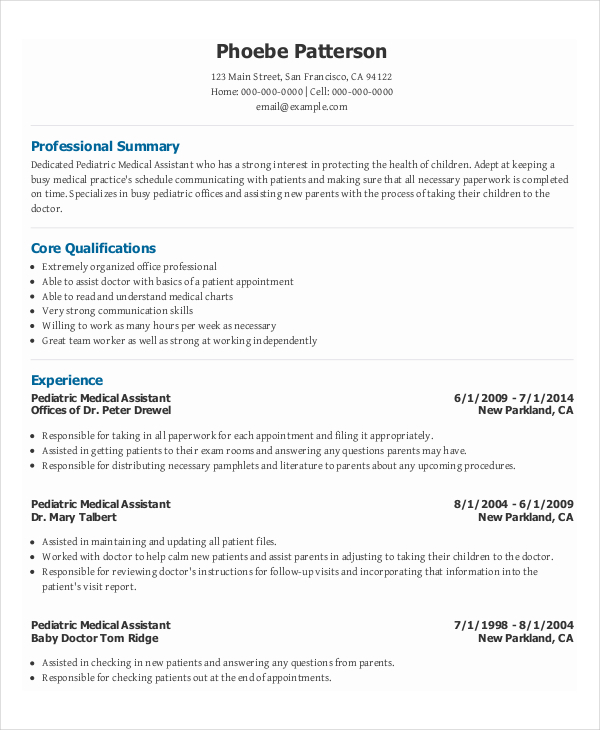 Medical Healthcare Administrative Resume Sample