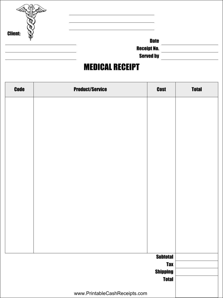 Medical Store Receipt Template