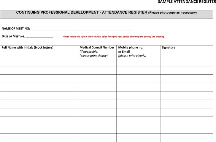 Meeting Attendance Register Template