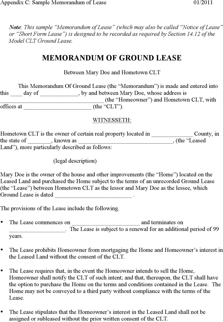 Memorandum of Ground Lease