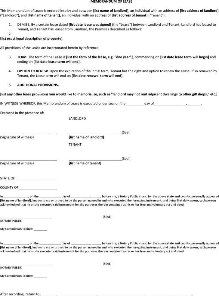 Memorandum of Lease Agreement