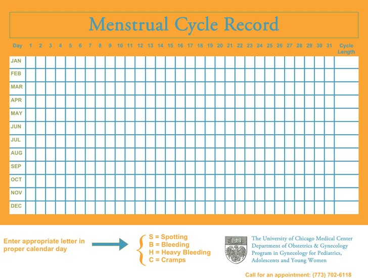 Menstrual Calendar 1