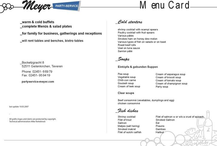 Menu Card - Partyservice Meyer