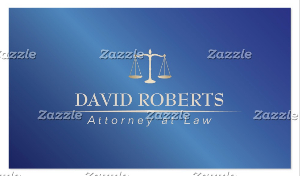 Metal Blue Attorney Lawyer Business Card