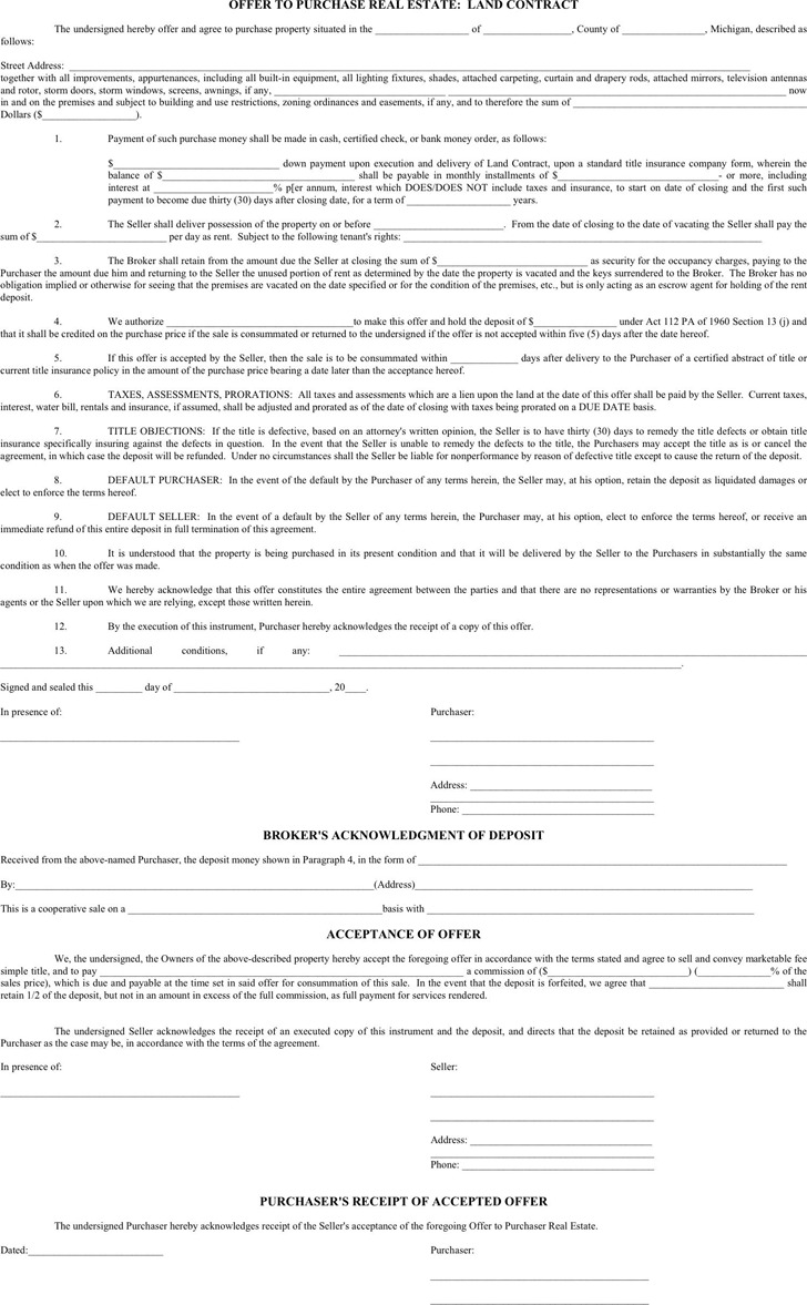 Download Michigan Offer To Purchase Real Estate Form For Free