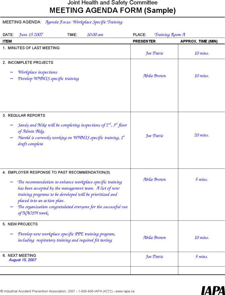 Microsoft Meeting Agenda Form
