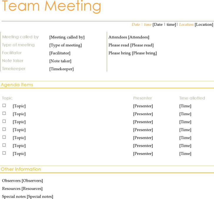 Microsoft Team Meeting Agenda Template
