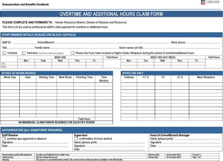 Microsoft Word 2010 Overtime Sheet Template Download