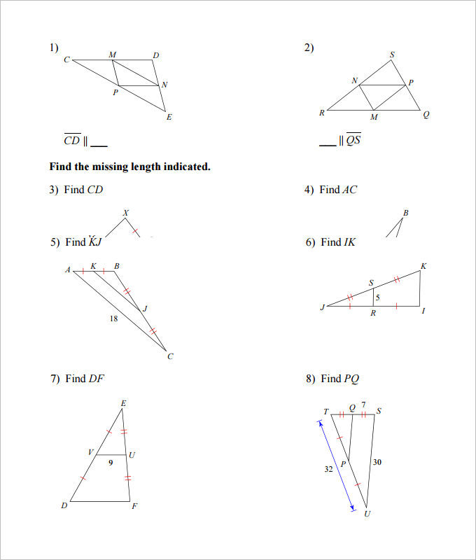 Midsegment of a Triangle High School Geometry Worksheet Template