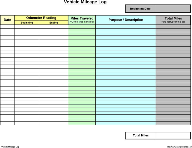8 Mileage Log Template Free Download