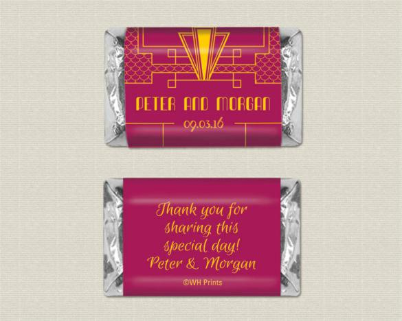 Mini Sized Art Deco Personalized Candy Wrappers Download
