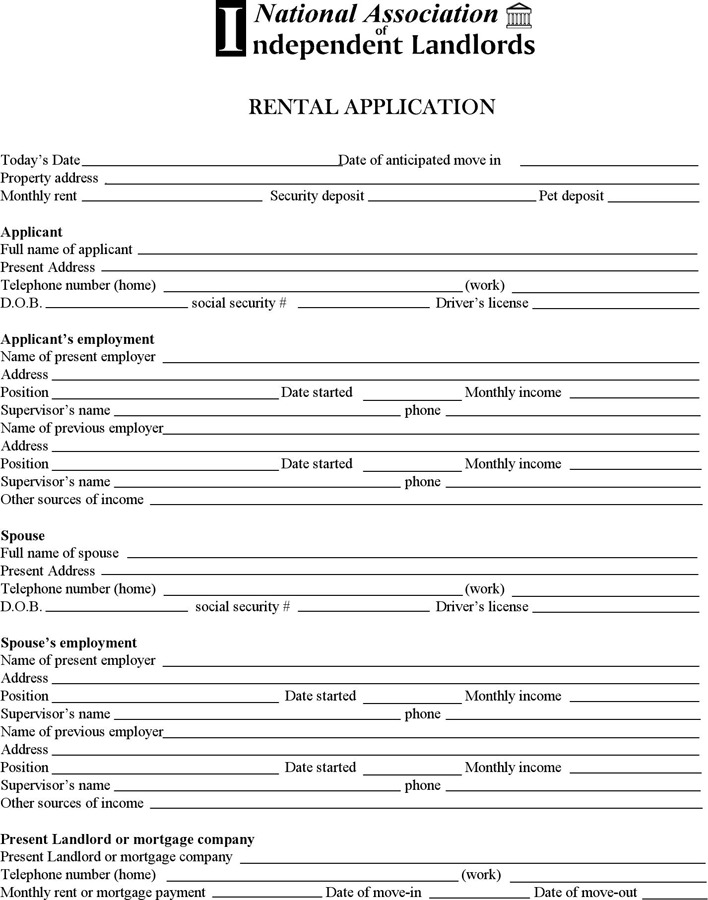 Minnesota Rental Application Form
