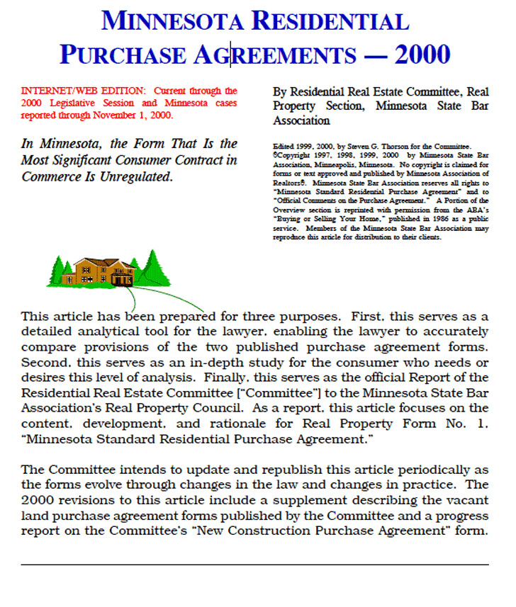 4 Minnesota Offer To Purchase Real Estate Form Free Download