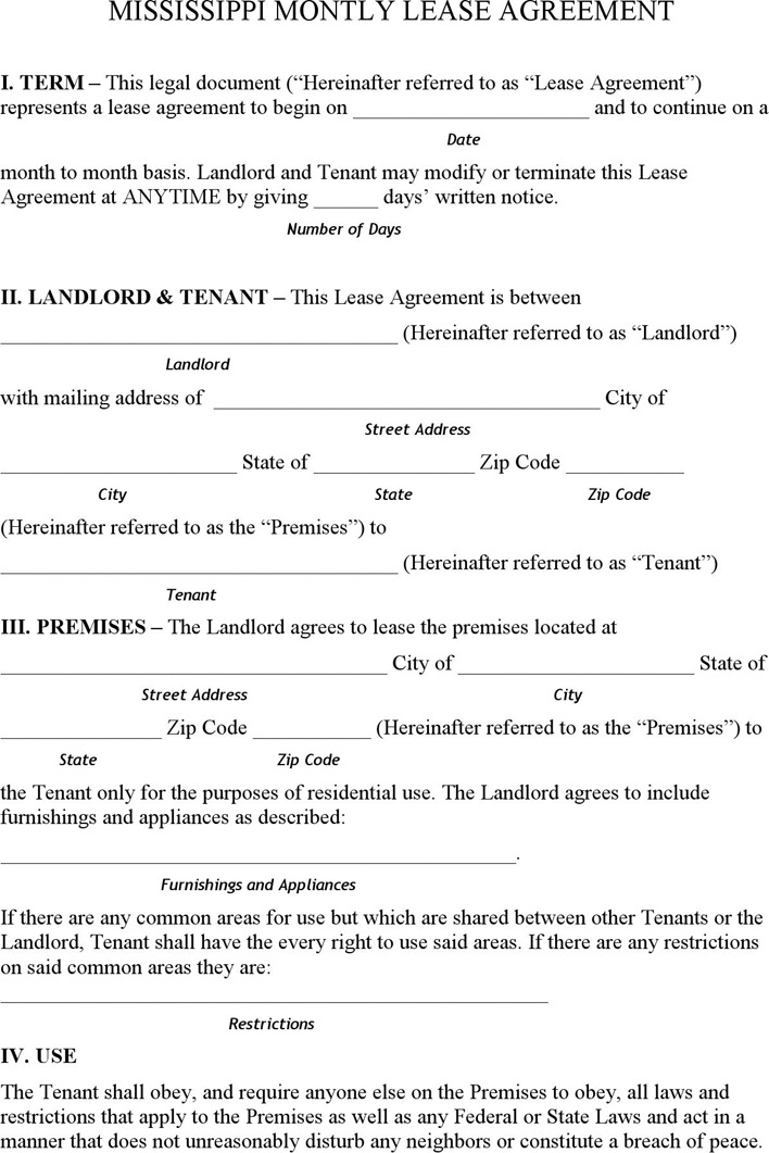 Mississippi Monthly Lease Agreement Template