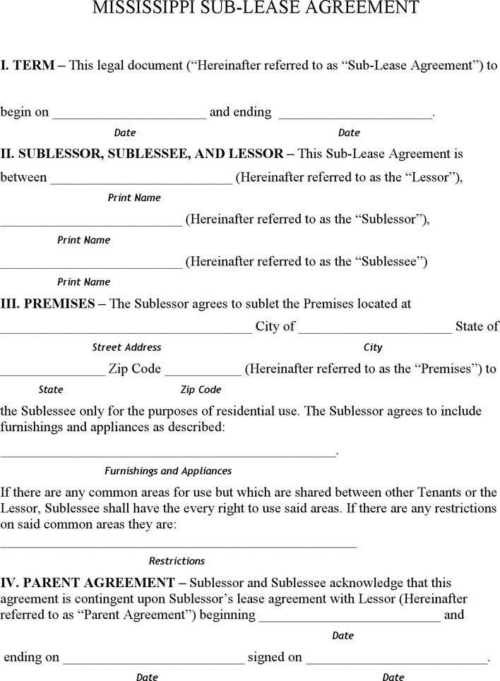Mississippi Sublease Agreement Form