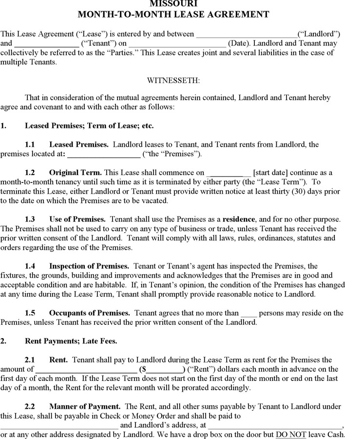 5 Missouri Rent And Lease Template Free Download