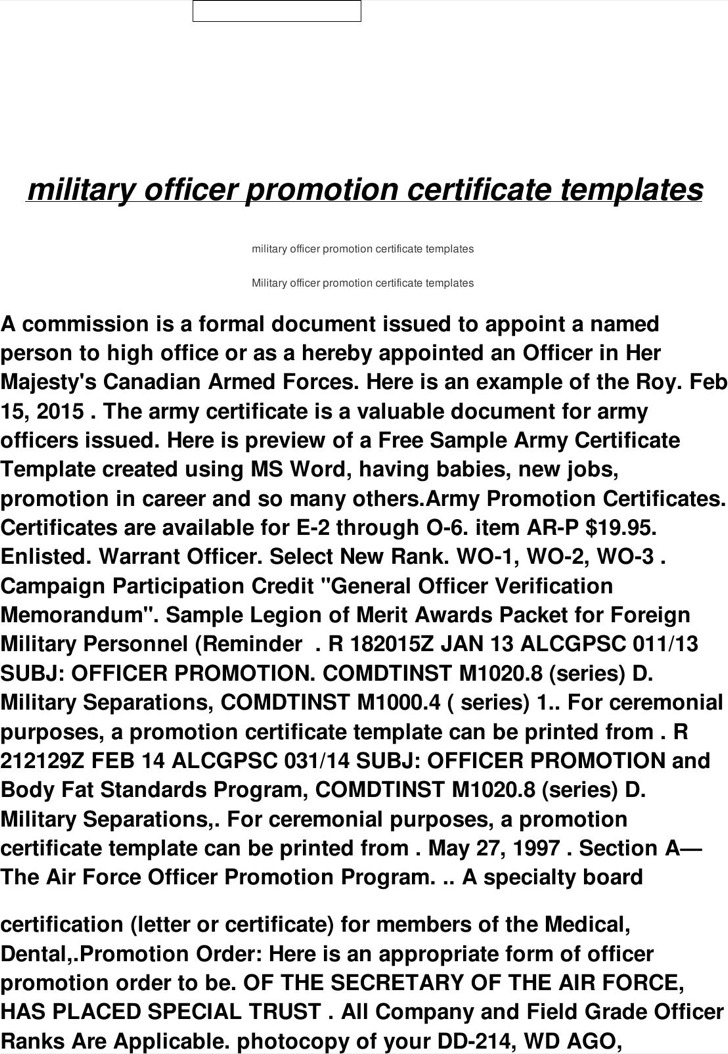 Mlitary Officer Promotion Certificate Template