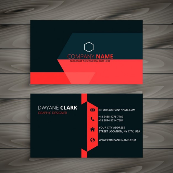 Modern Black Business Card with Red Details Free Vector