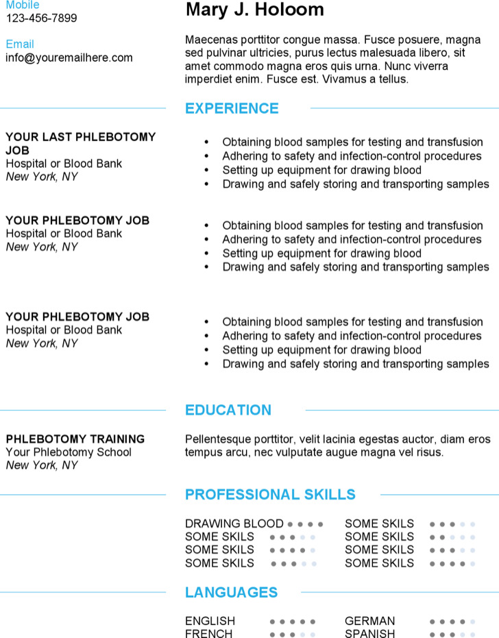 Modern Blue Phlebotomy Resume Template