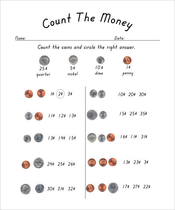 Money Math Worksheets For Kids