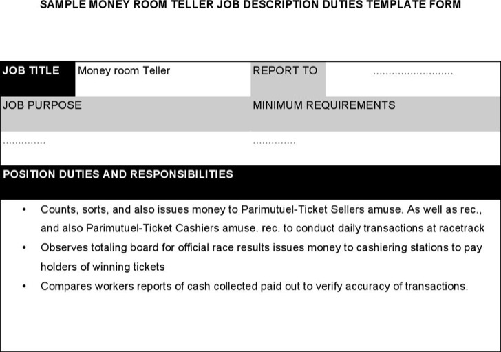 Money Room Teller Job Description
