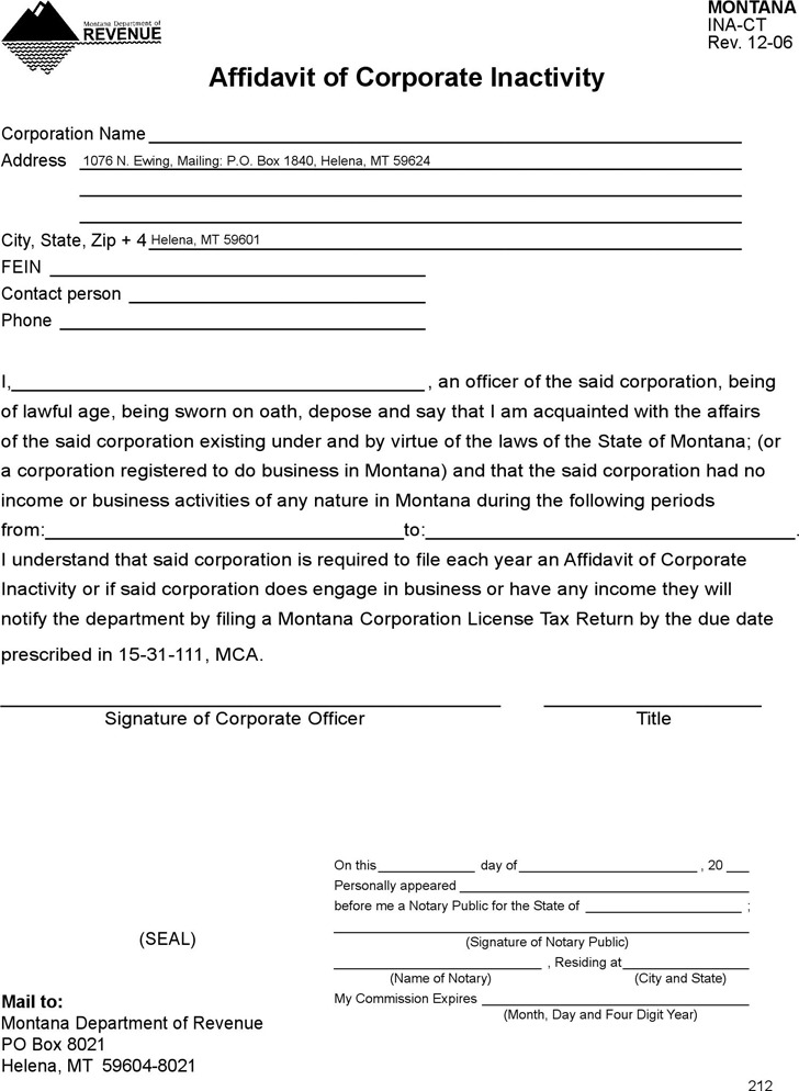 the letter people 4 montana affidavit form free 13100 | montana affidavit of corporate inactivity form