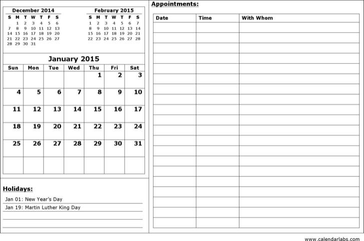 Month Appointment Calendar Template