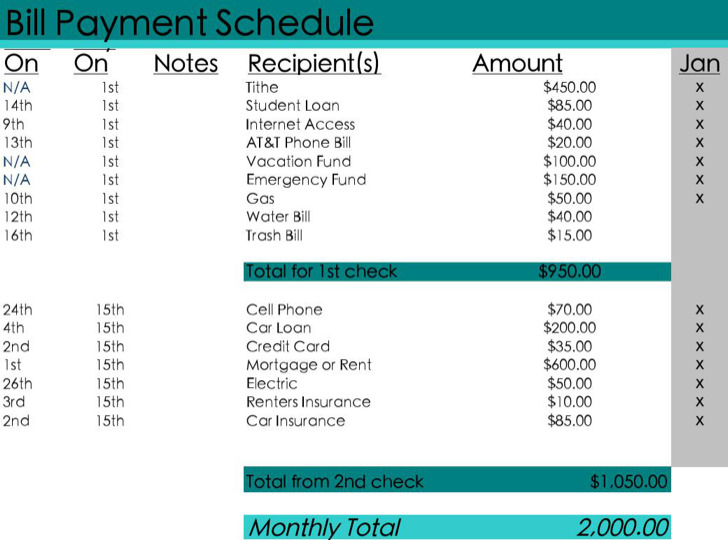 Monthly Bill Payment Schedule Excel Template Excel Download