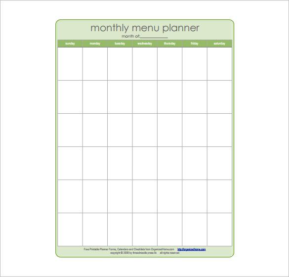 Monthly Dinner Menu Planner Schedule Template Download