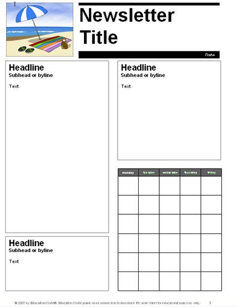 Monthly School Newsletter Template