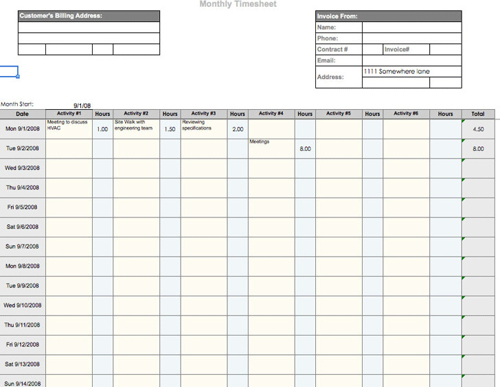 Monthly Timesheet Template and Mileage