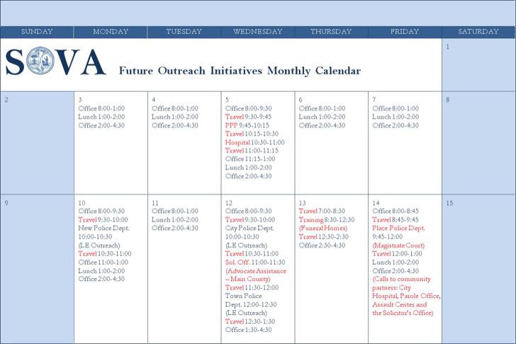 Monthly Travel Calendar Template