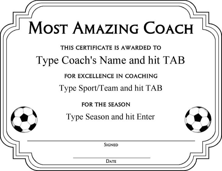 Most Amazing Coach Certificate Template