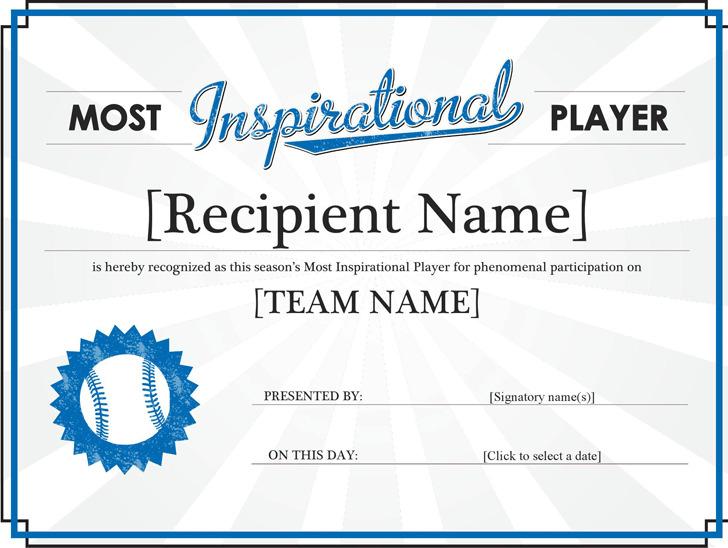 Most Inspirational Player Award Certificate