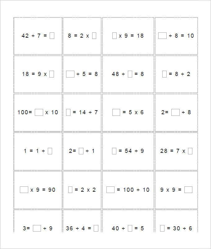 Multi Operations Missing Numbers Worksheet Template