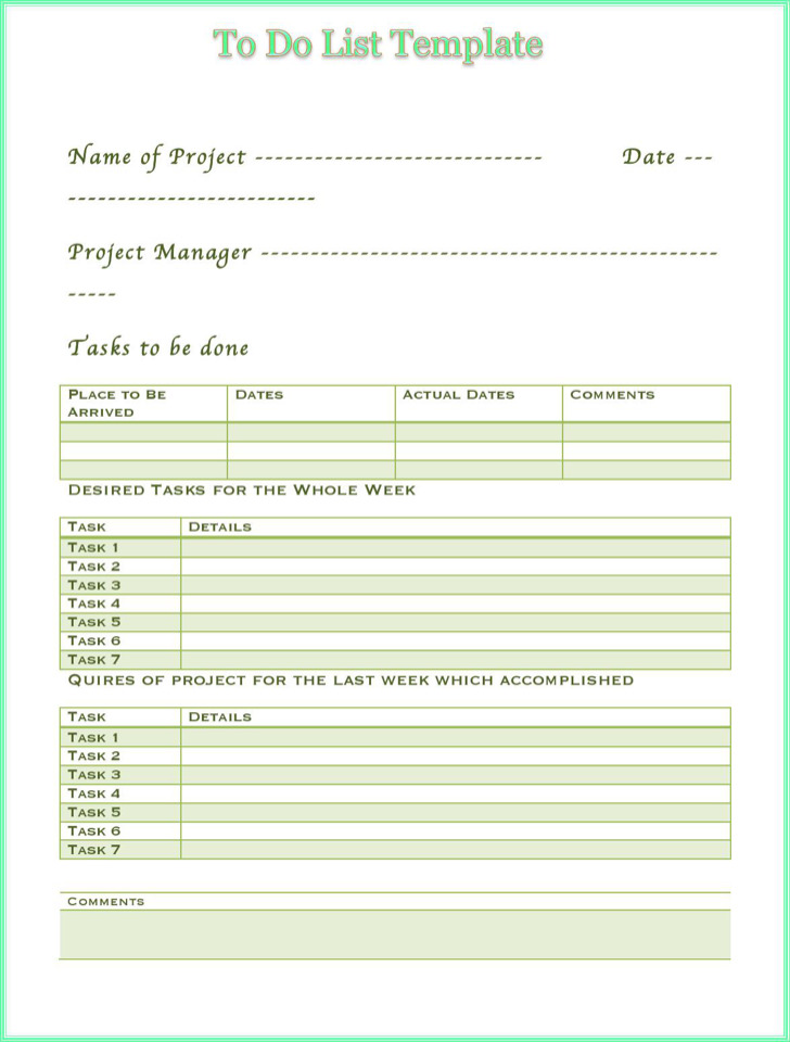 Multi Task To Do Priority List Template