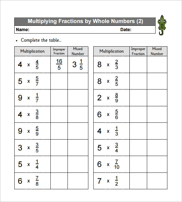 Multiplying Fractions Worksheet Templates Free Download Multiplying Fractions Worksheets Th Grade