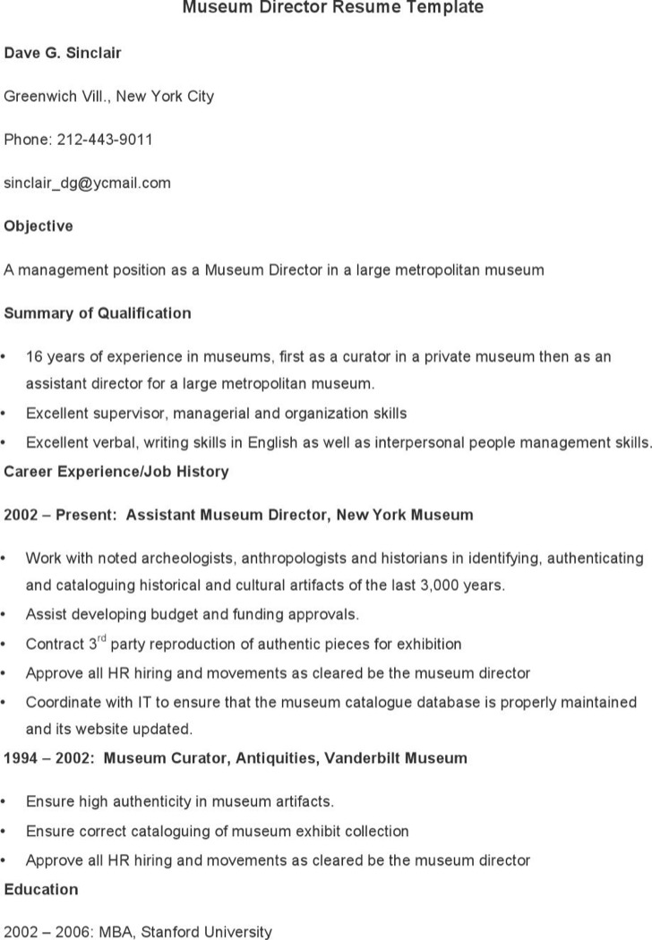 Museum Director Resume Template