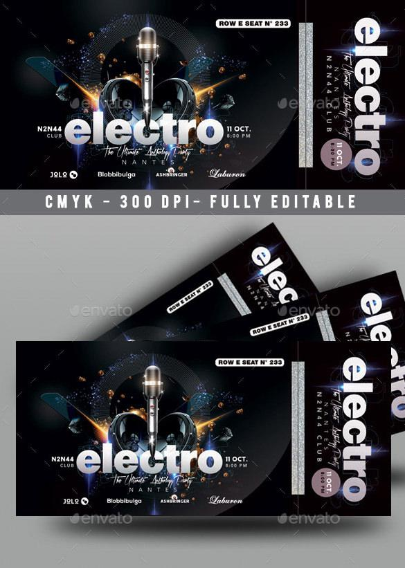 Music Concert Ticket Template PSD