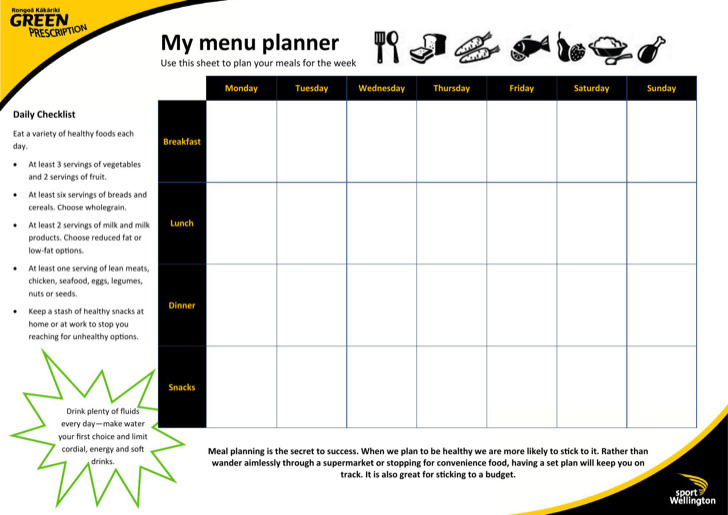 My Daily Menu Planner Template