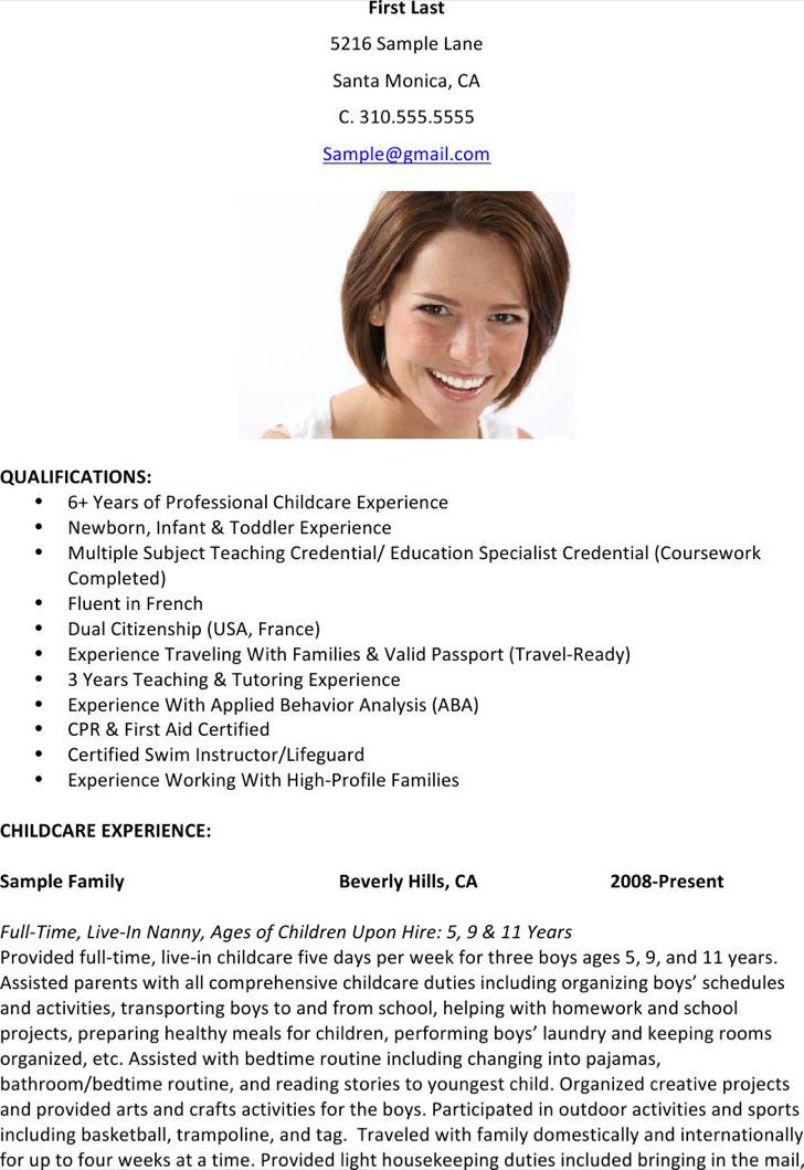 Nanny Childcare Resume