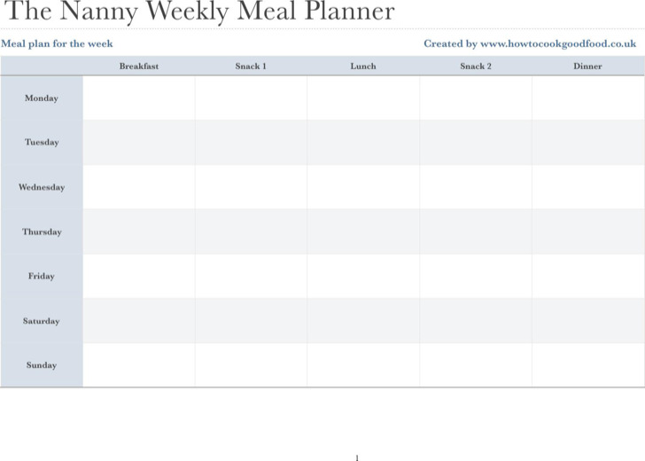 Nanny Daily Meal Planner
