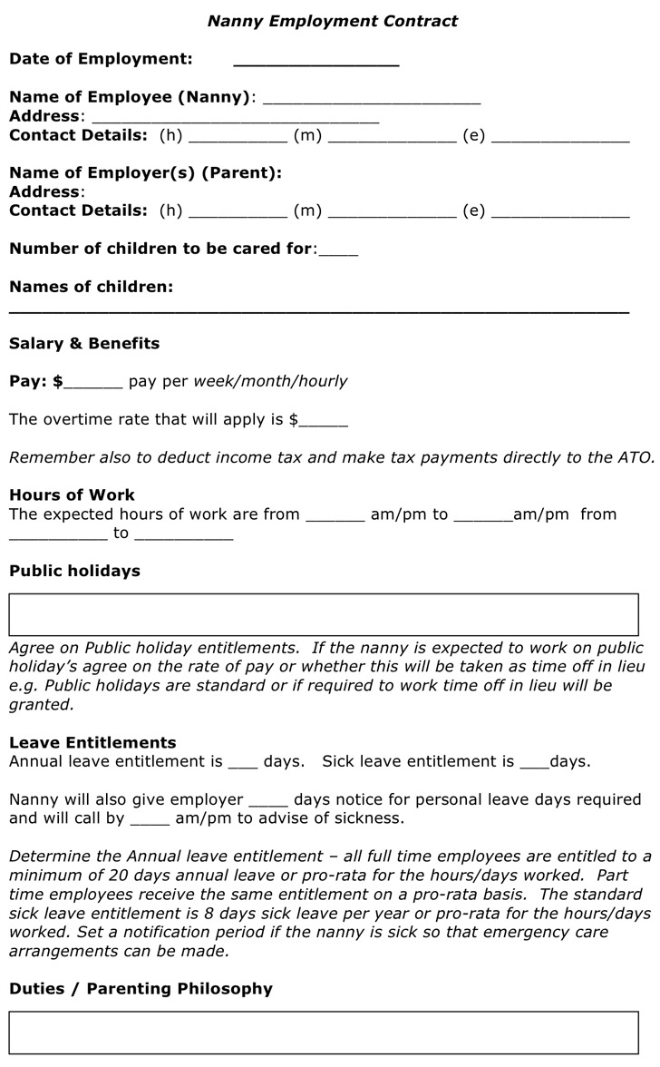 Nanny Employment Contract